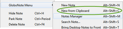 New note from clipboard context menu